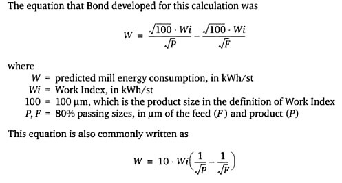 Bond Work Index Formula Equation Mineral Processing