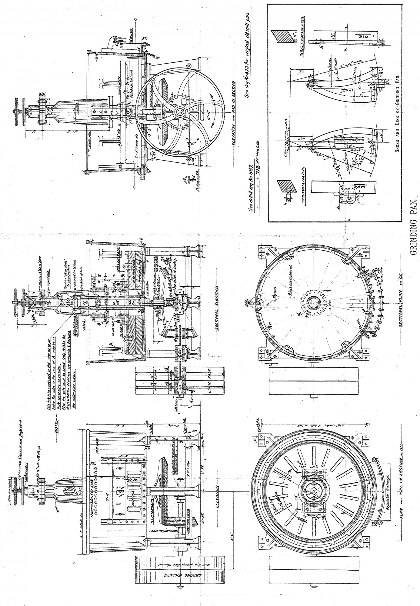 plans of a grinding pan mill drawings