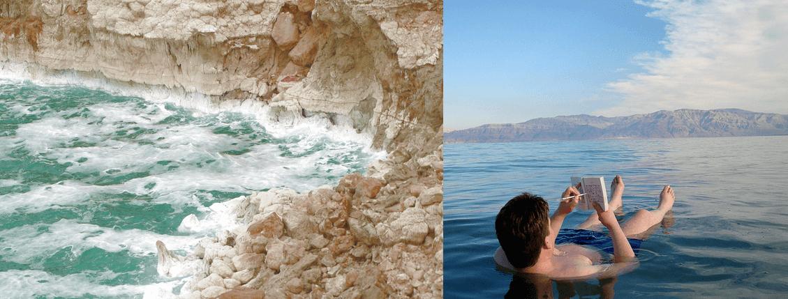 floating in salt sea water