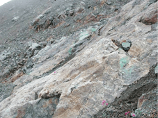 IronCap_Silicified_potassic_altered_intrusive_quartz_chalcopyrite_malachite
