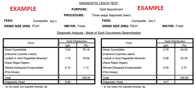Gold Diagnostic Leach Test Work example