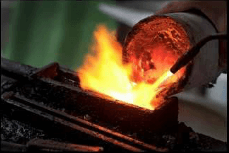 If you use electric crucible or ceramic crucible, when gold was melt pour into the block