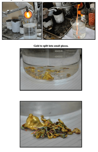 Pour gold slowly, into distilled water