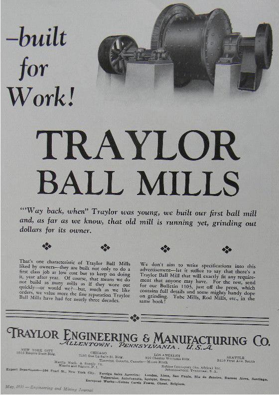 Traylor Ball Engineering Mills