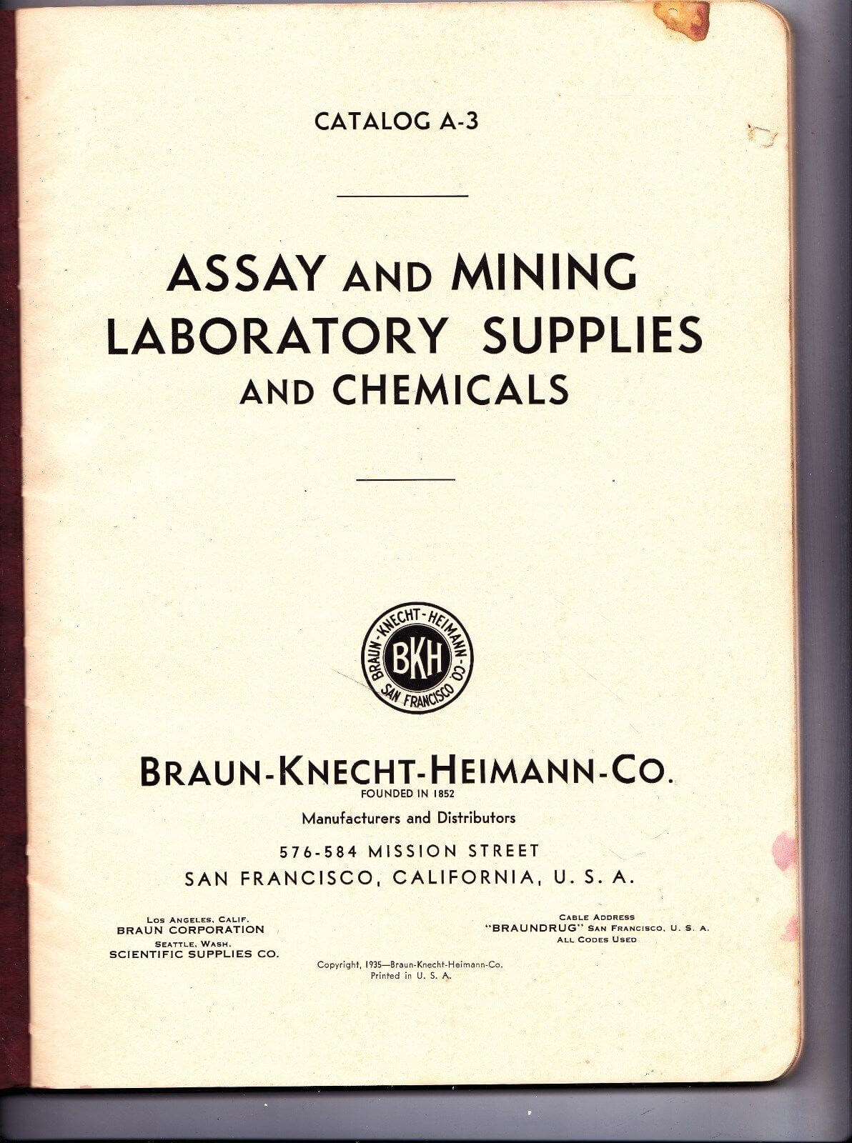 1935 Braun Knecht Heimann Co Assay Mining Laboratory Supplies Chemicals