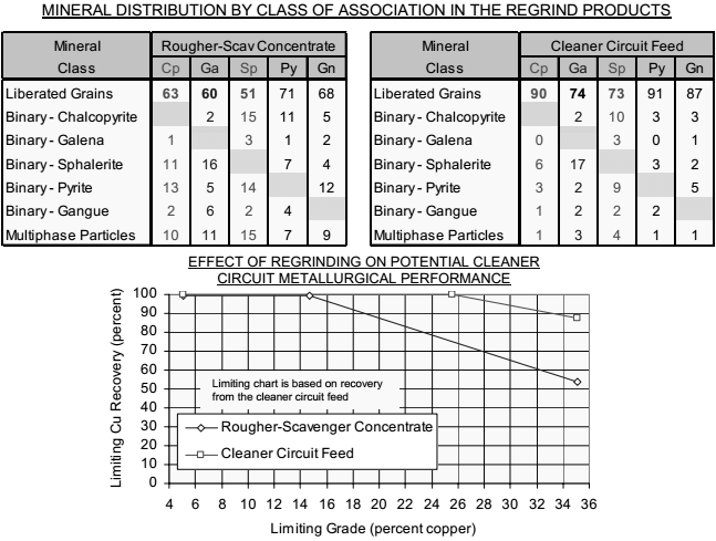 MINERAL DISTRIBUTION BY CLASS OF ASSOCIATION IN THE REGRIND PRODUCTS