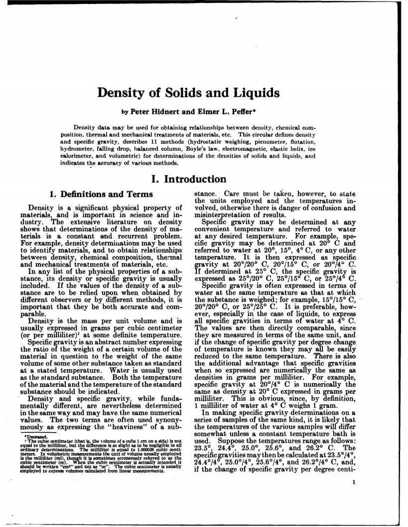 density of liquids and solids lab report Specific gravity of solids and liquids - formal report - download as word doc (doc / docx), pdf file (pdf), text file (txt) or read online.