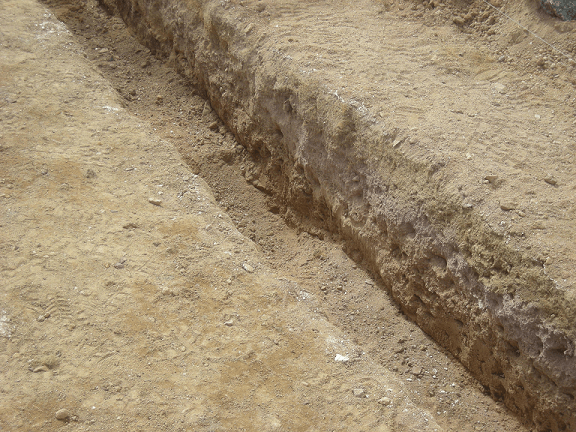 Different rock layers are detected by trenching