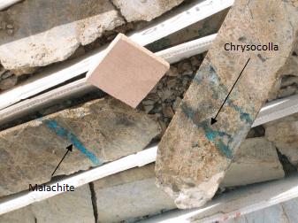 Malachite and chrysocolla are oxidized copper minerals