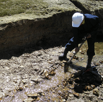 Taking samples by using a shovel