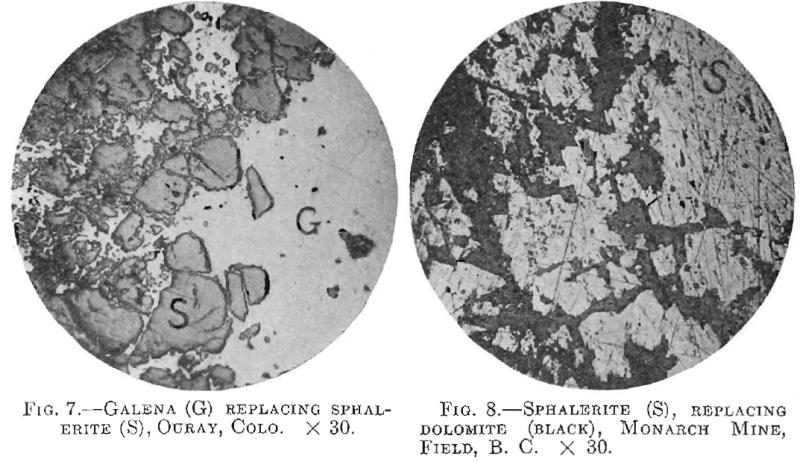 Galena replacing Sphalerite