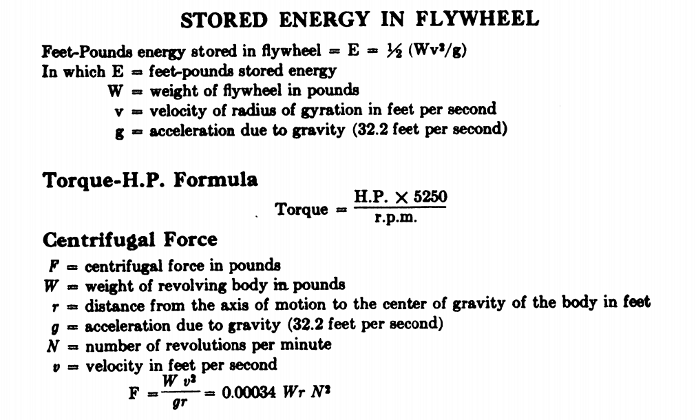 calculate how much energy is stored in a flywheel