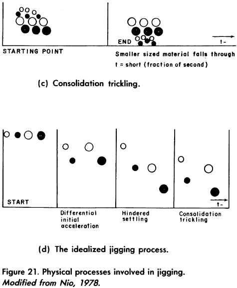 Physical processes involved in jigging