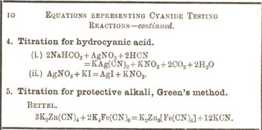 equation representing cyanide testing reactions