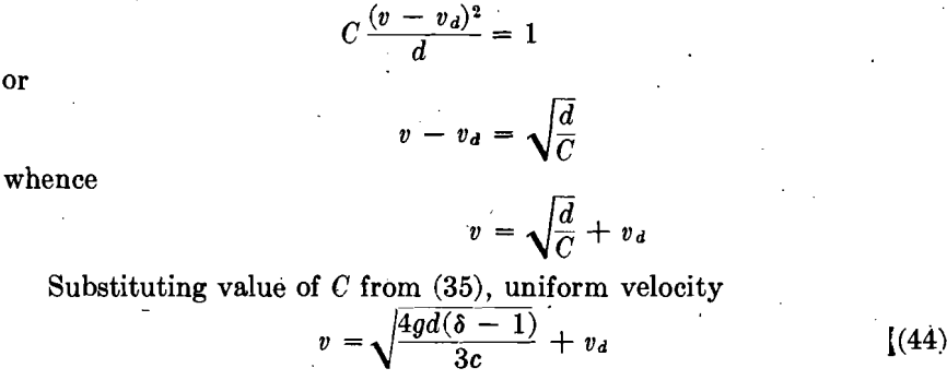 falling velocity concentration