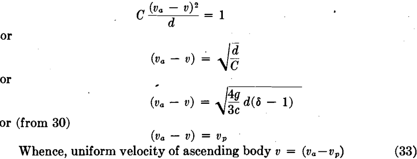 uniform velocity gravity concentration