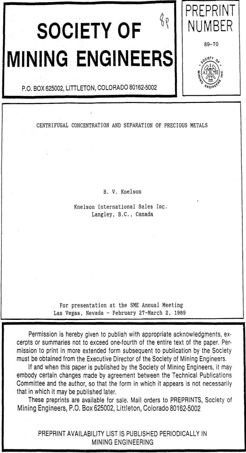 centrifugal concentration and separation of precious metals