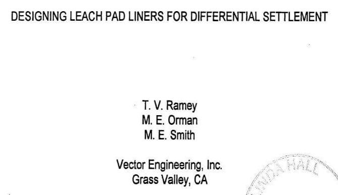 heap leach pad liner differential settlement & strain estimate