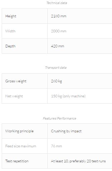impact work index test unit