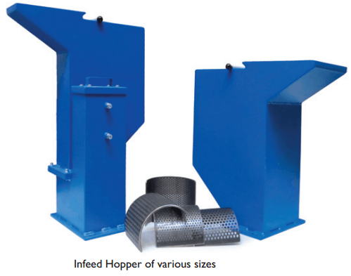 feed hopper for wood cutting mill