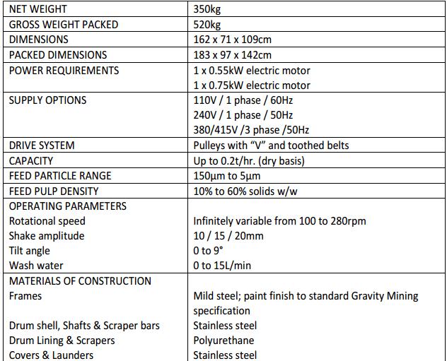multi gravity separator specification