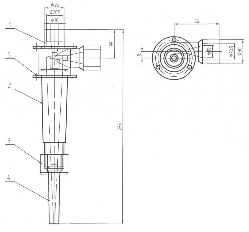 25 mm 1 inch laboratory hydrocyclone drawing