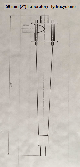 50 mm 2 inch laboratory hydrocyclone drawing