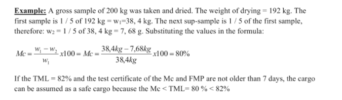 transportable moisture limit calculations example