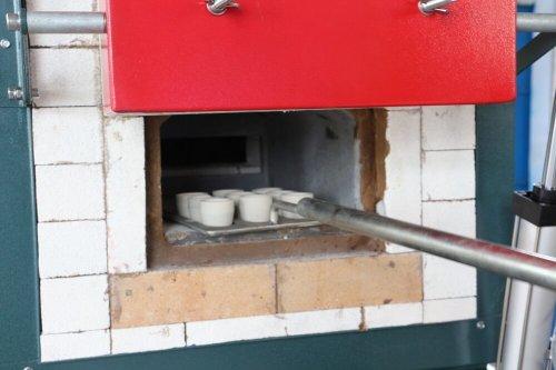1 bone ash cupels in cupellation furnace