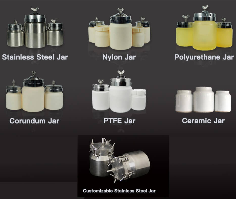 planetary ball mill grinding jars