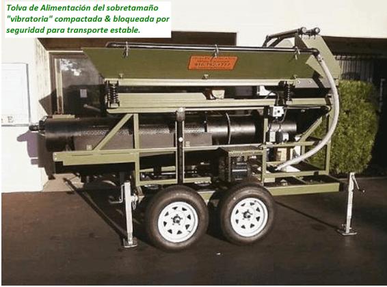 "modelo de trommel portátil para oro ""159 v"" sobretamano"