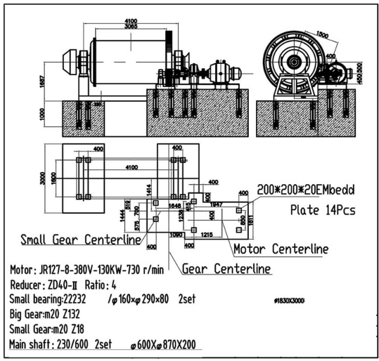 molinos de bolas industriales pequeños 0.5 a 50 tph centerline