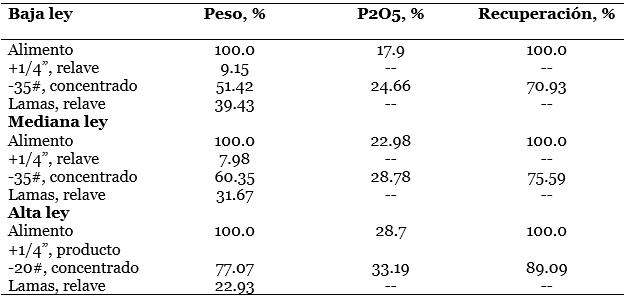 procesamiento de fosfatos resultados