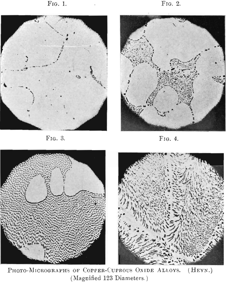 photo micrographs of copper-cuprous oxide of alloys