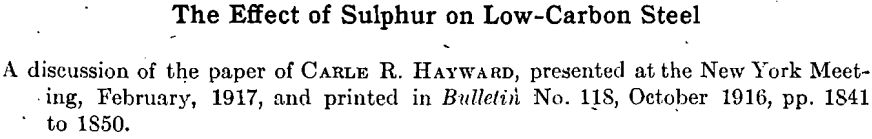effect of sulphur on low-carbon steel