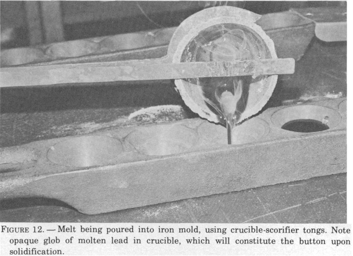 fire-assaying-melt-being-poured-into-iron-mold