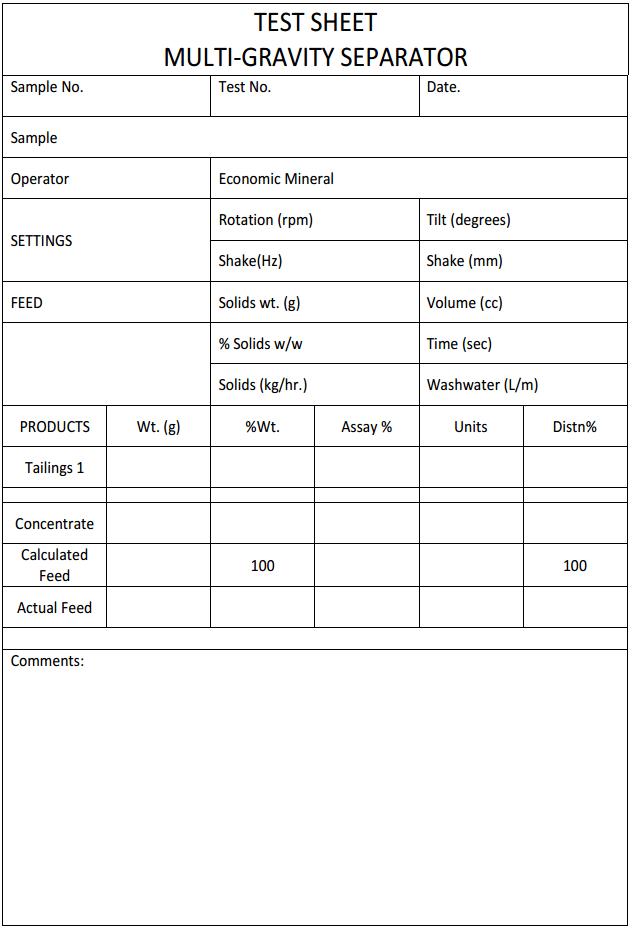 test-sheet multi gravity separator