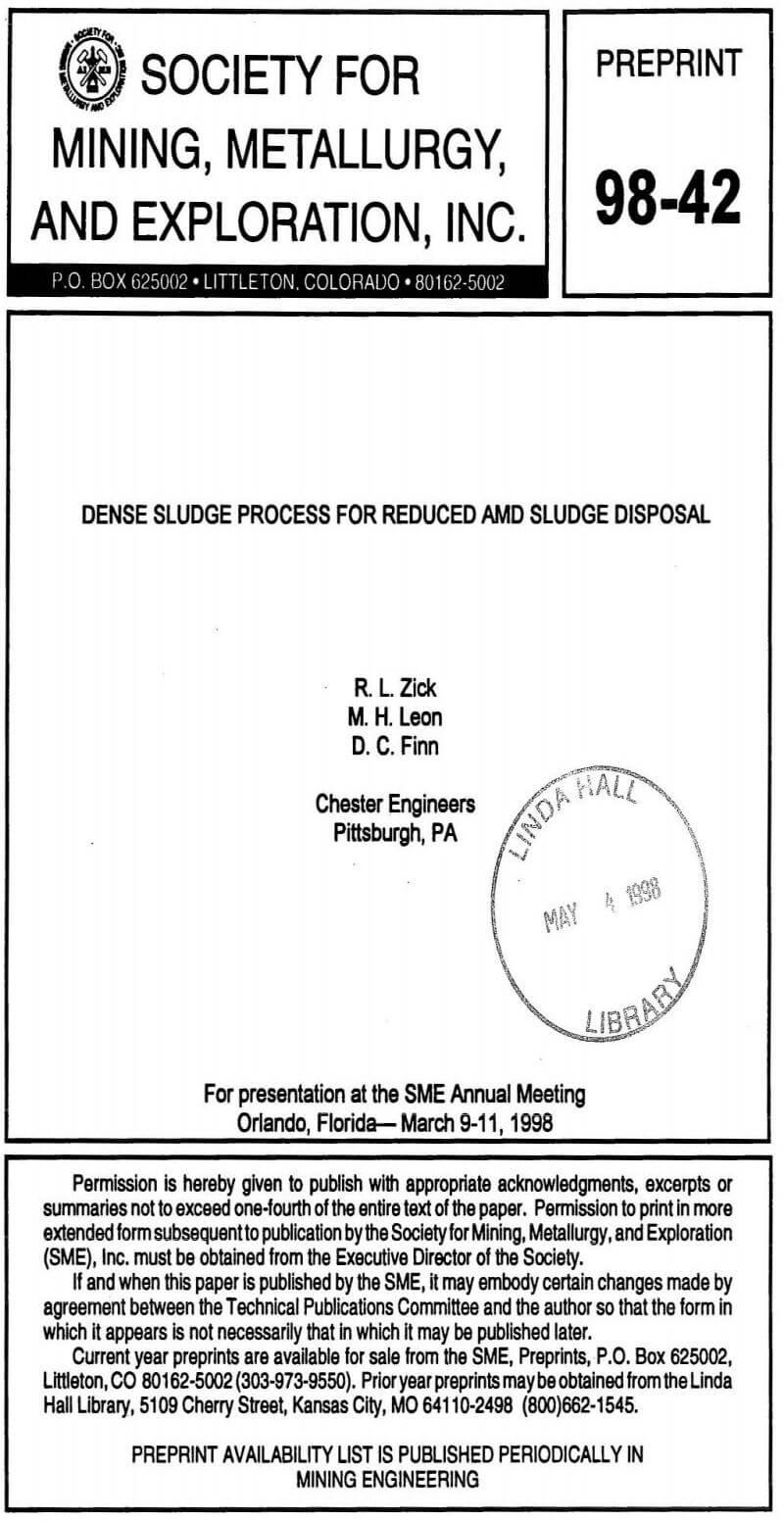 dense sludge process for reduced and sludge disposal