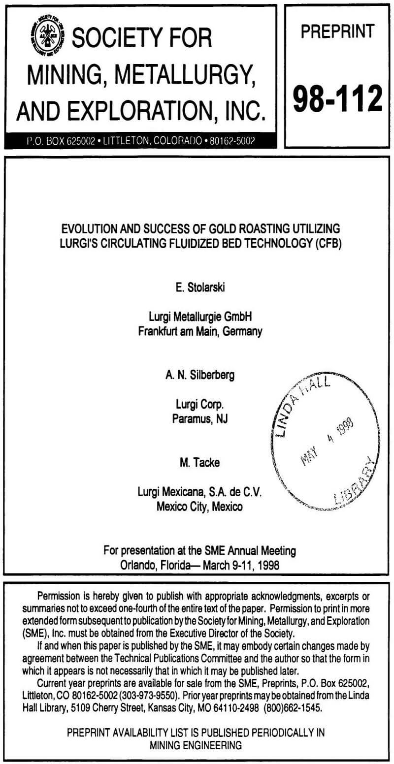 evolution and success of gold roasting utilizing lurgi's circulating fluidized bed technology (cfb)