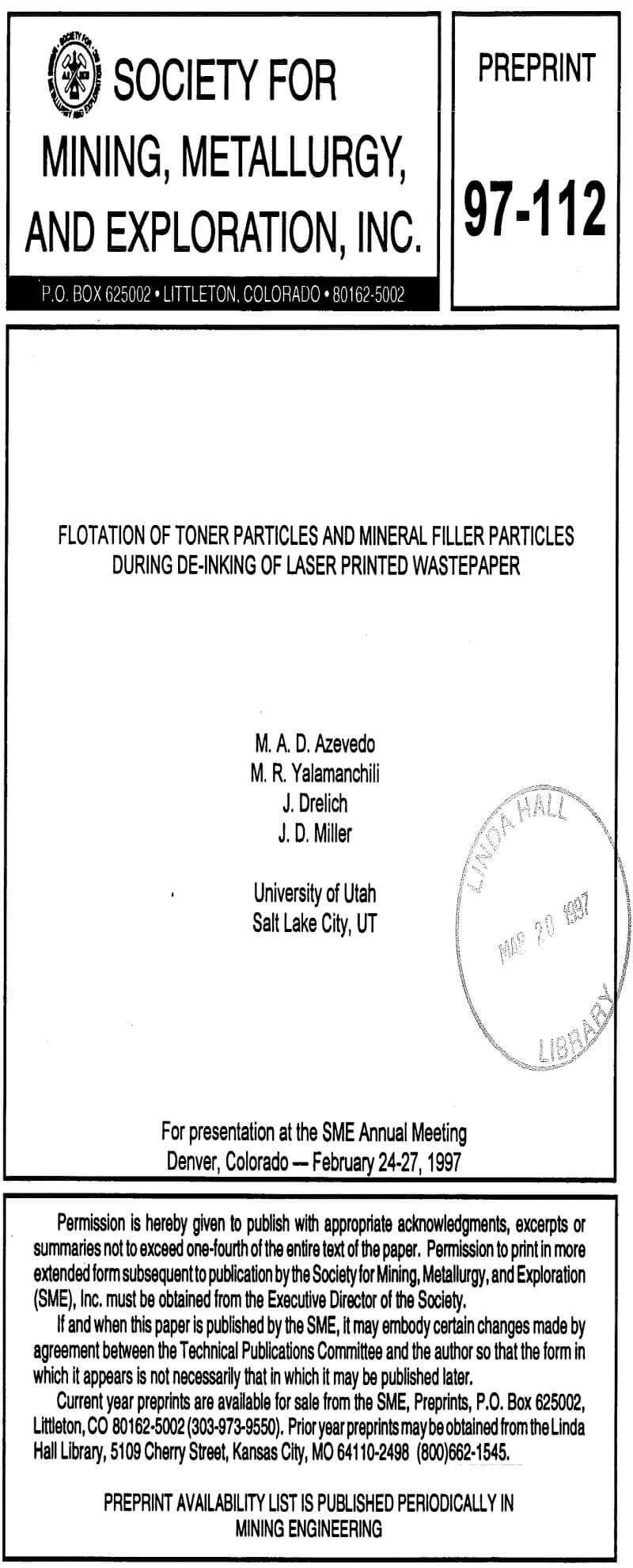 flotation of toner particles and mineral filler particles during de-inking of laser printed wastepaper