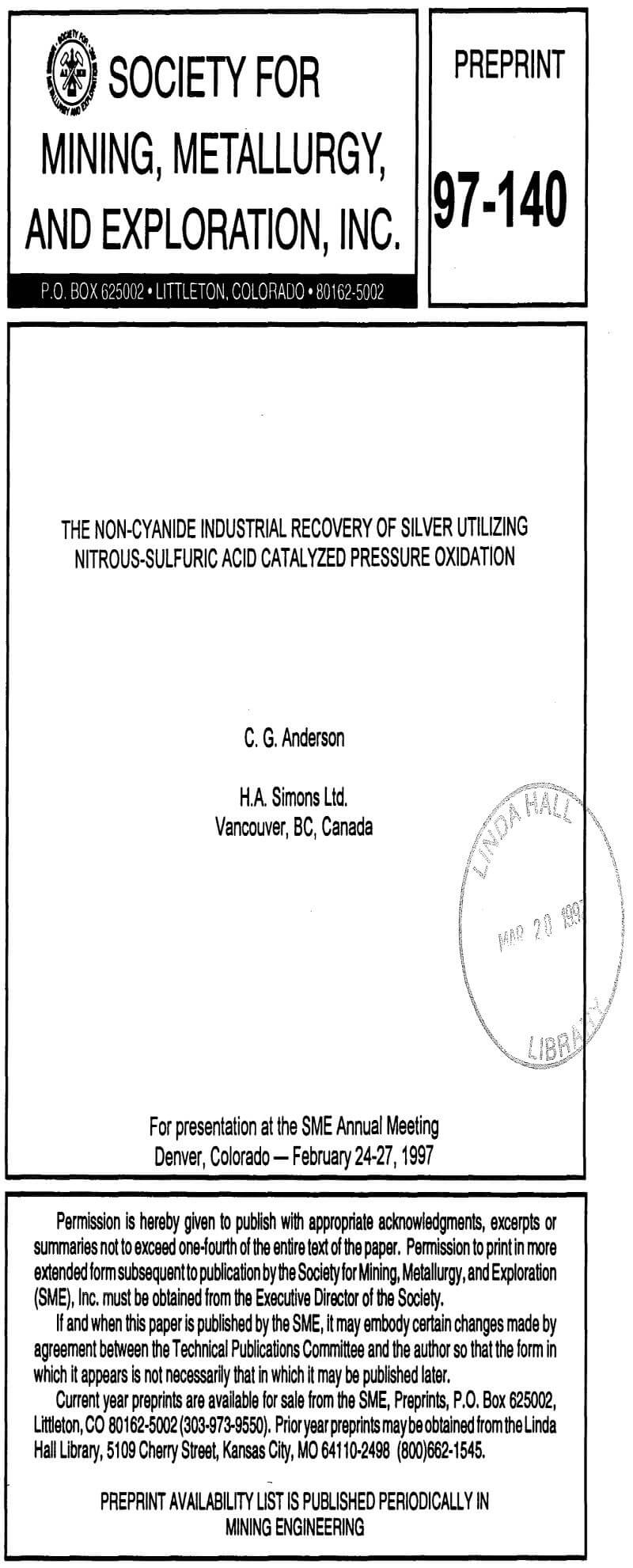 the non-cyanide industrial recovery of silver utilizing nitrous-sulfuric acid catalyzed pressure oxidation