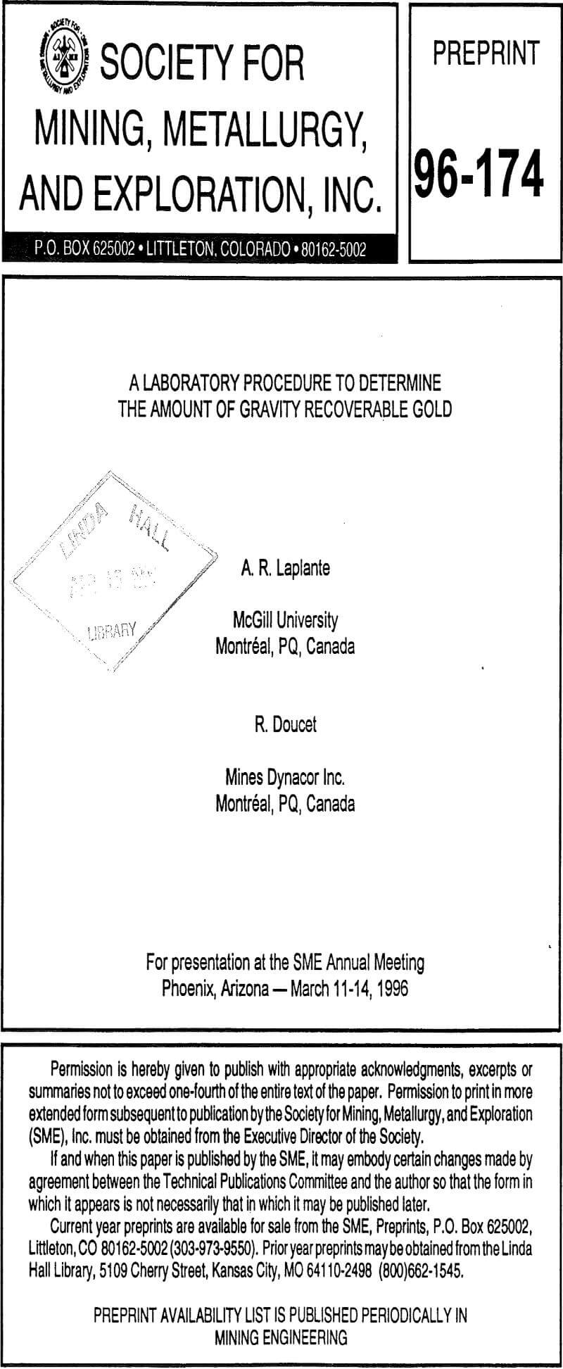 a laboratory procedure to determine the amount of gravity recoverable gold