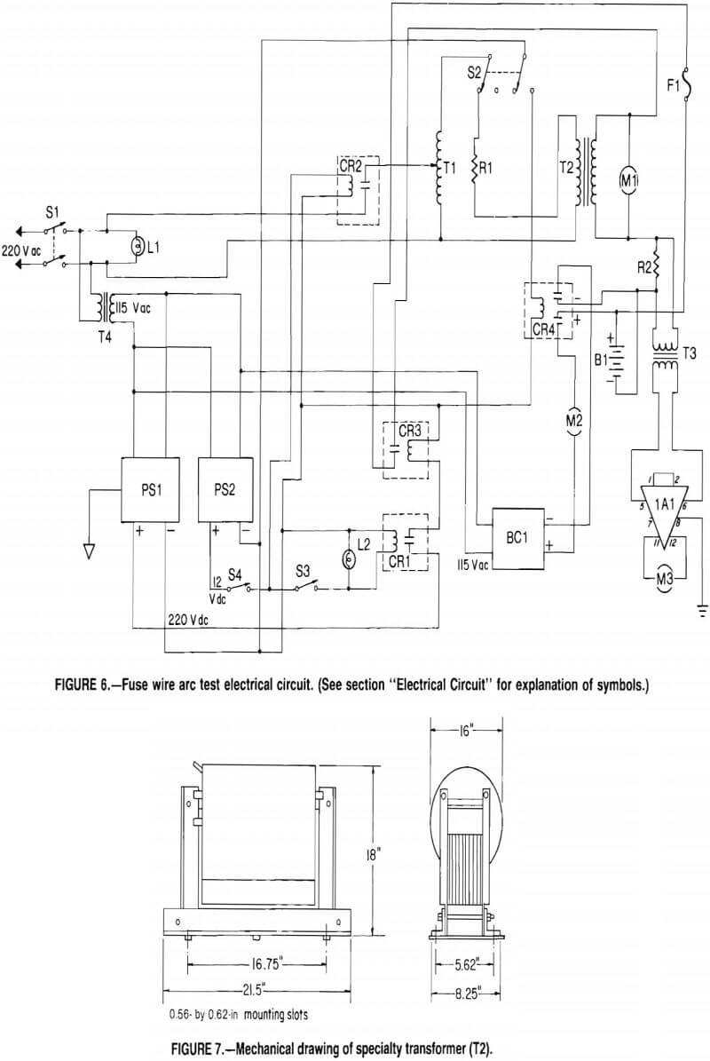 fuse wire arc test mechanical drawing