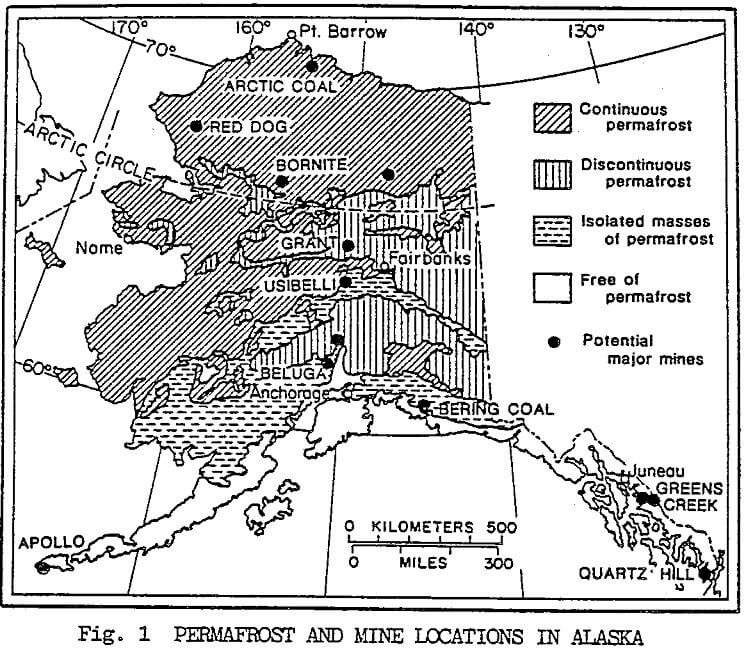 arctic-mining permafrost and mine locations