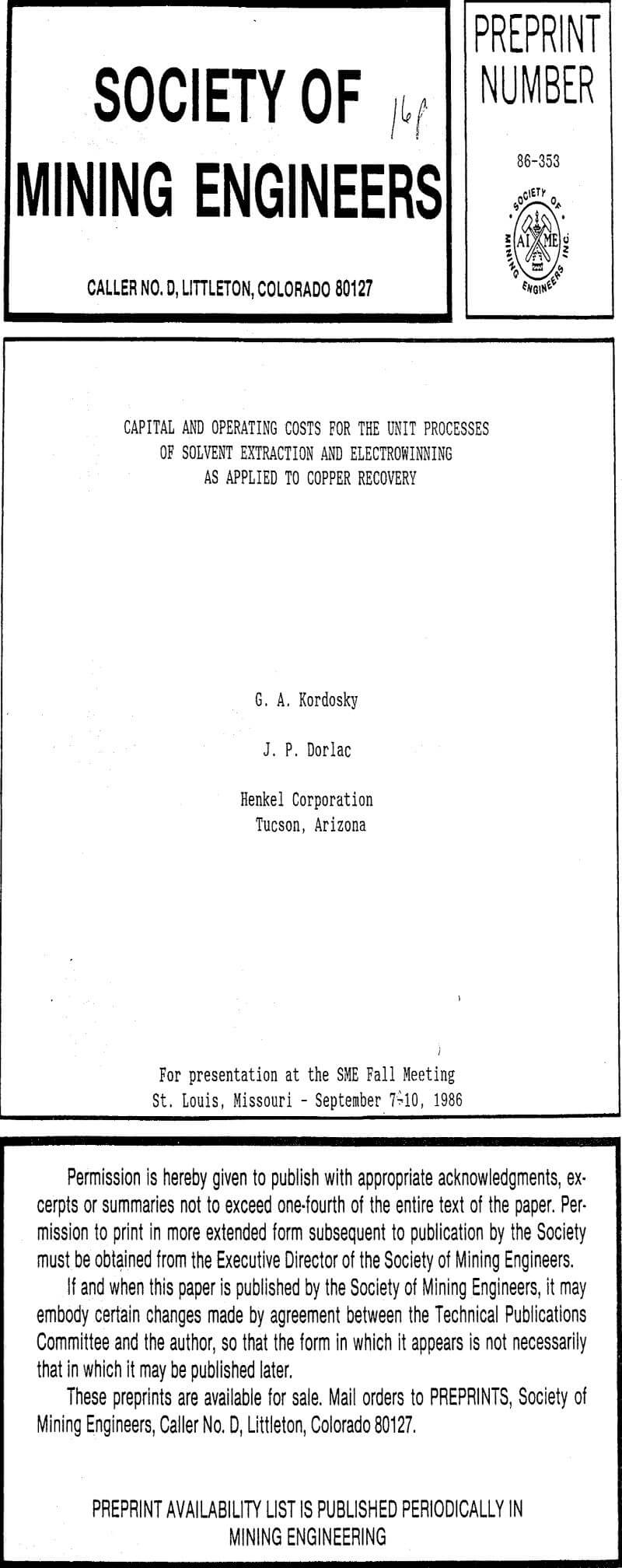 solvent extraction of copper pdf