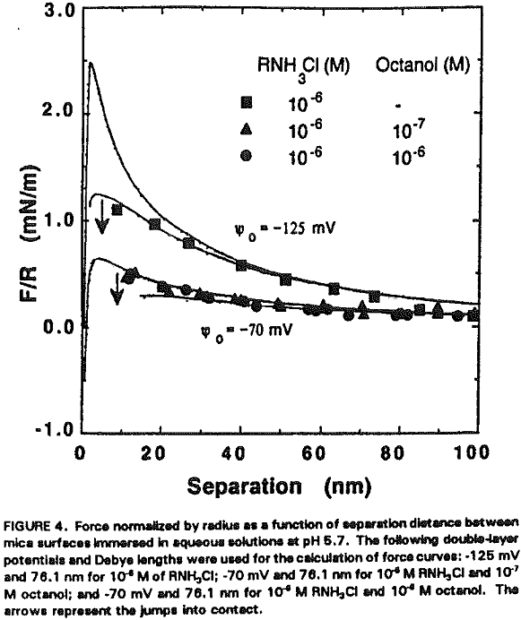 amine flotation force curves