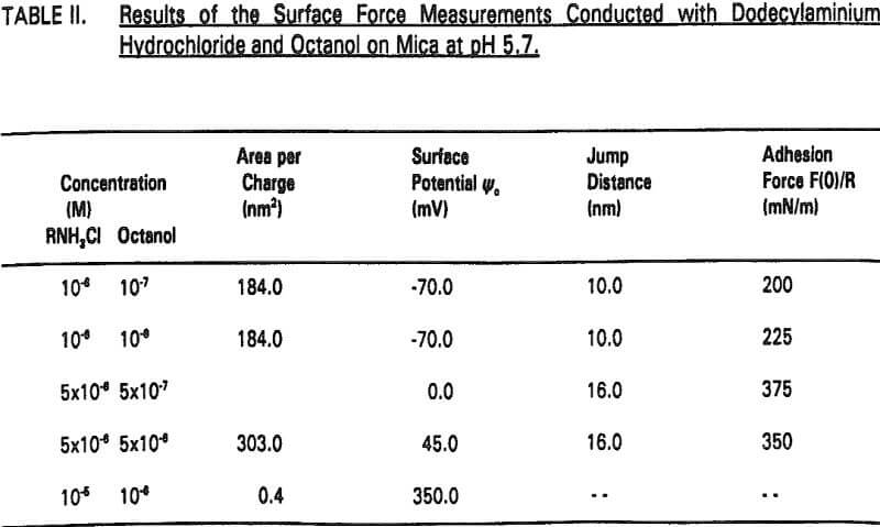 amine flotation surface force measurement