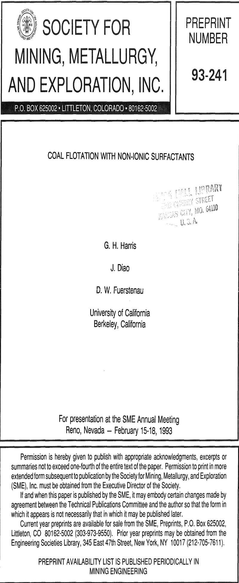 coal flotation with non-ionic surfactants