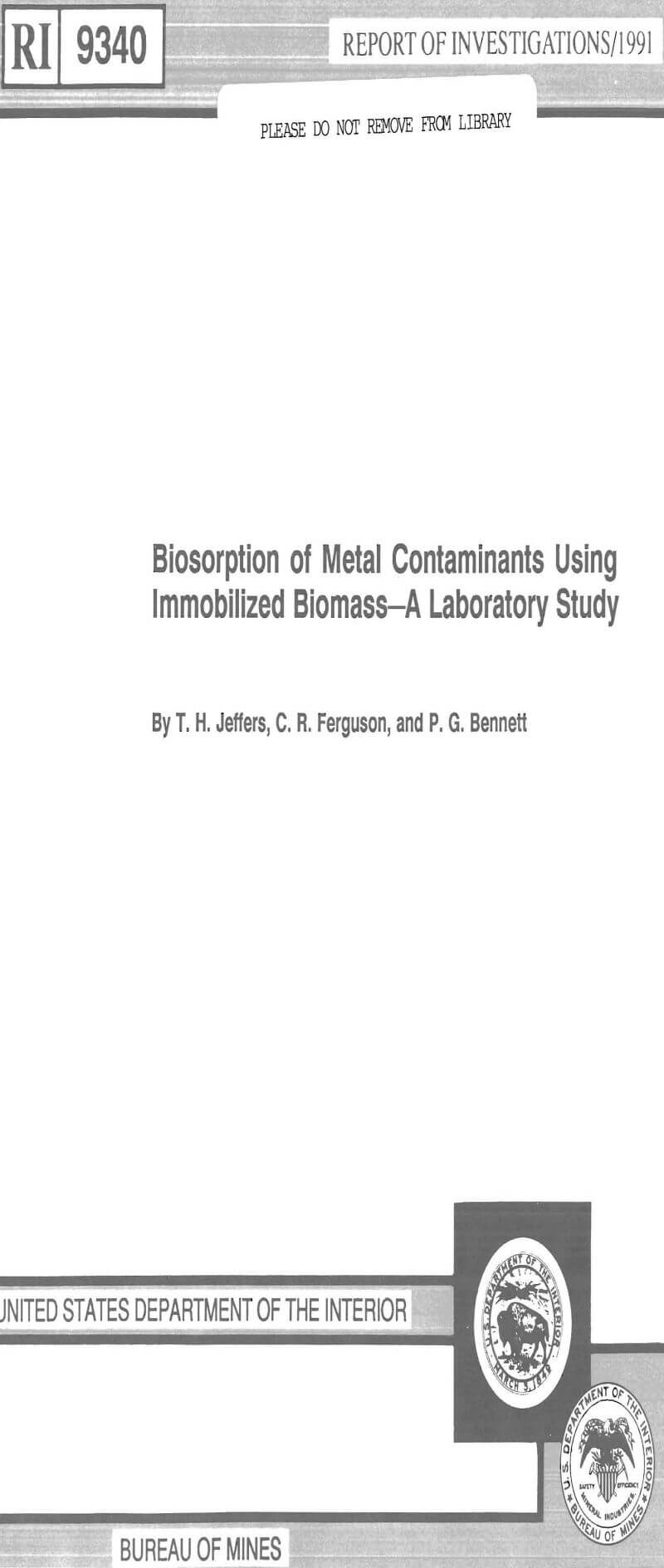 biosorption of metal contaminants using immobilized biomass a laboratory study