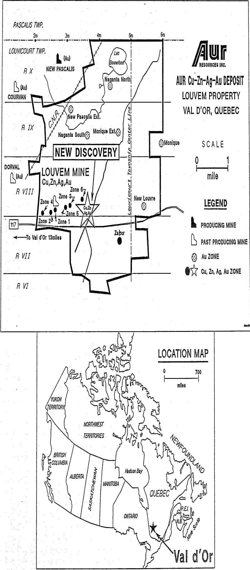 volcanogenic sulphide deposit location map